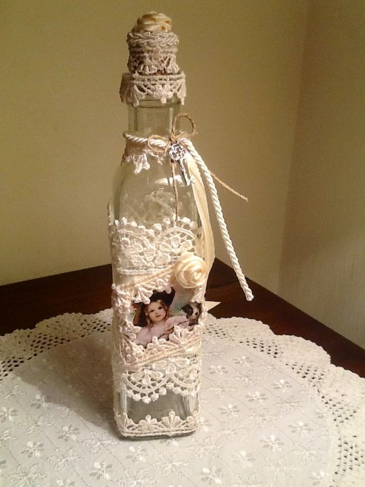 Bottiglietta shabby chic con immagine vittoriana
