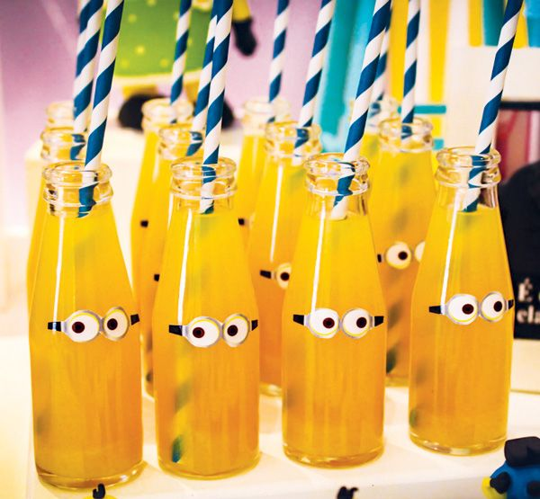 Super cute little Minion bottles — just add eyes: