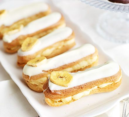 Banana custard eclairs. Give these afternoon tea classics a fruity makeover with a creamy banana custard filling - perfect for a Mother's Day spread