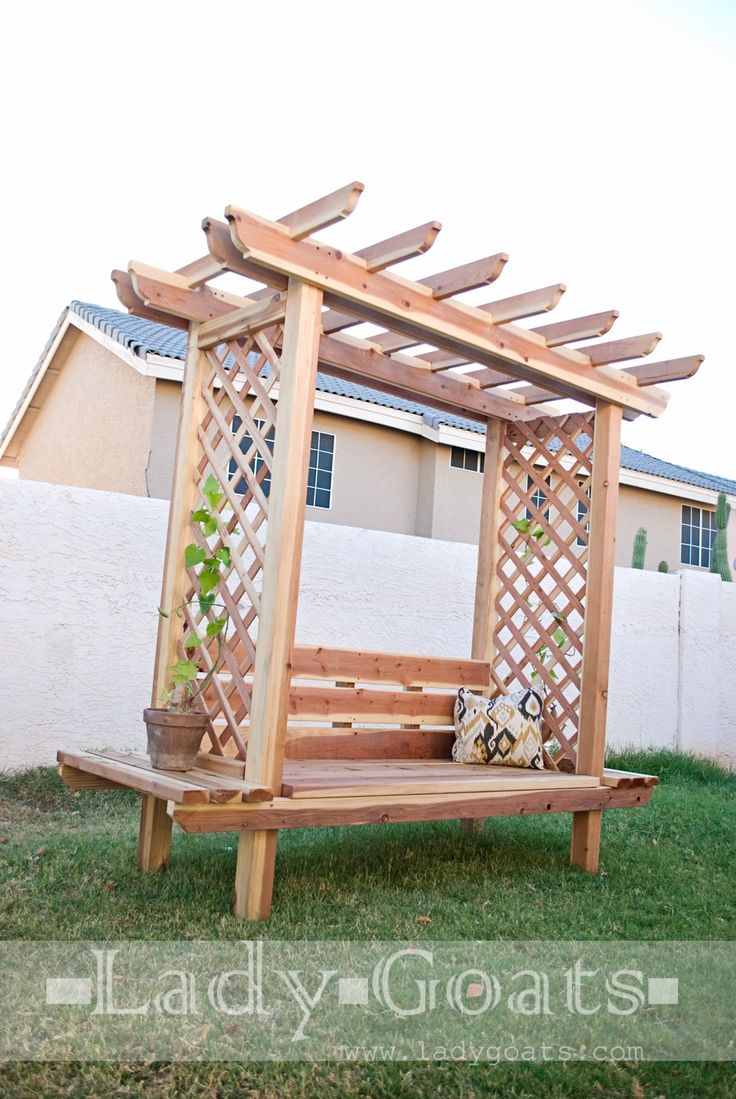 Solid roof pergola plans in addition park bench picnic table moreover - Ana White Build A Outdoor Bench With Arbor Free And Easy Diy Project And