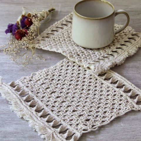 Macramé Coasters: After a decades-long hiatus, the trendy textile is back in a big way. Check out a few of our favorite macramé creations.