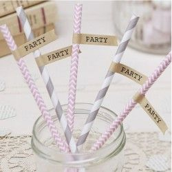 Brown Kraft Straw flags - A Vintage Affair