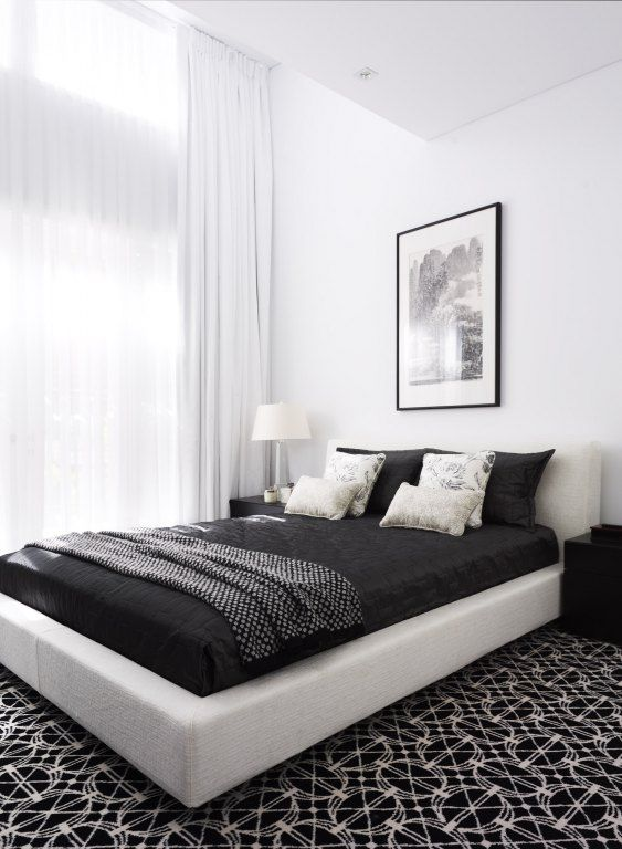 graphic wall-to-wall carpeting; dramatic curtain height