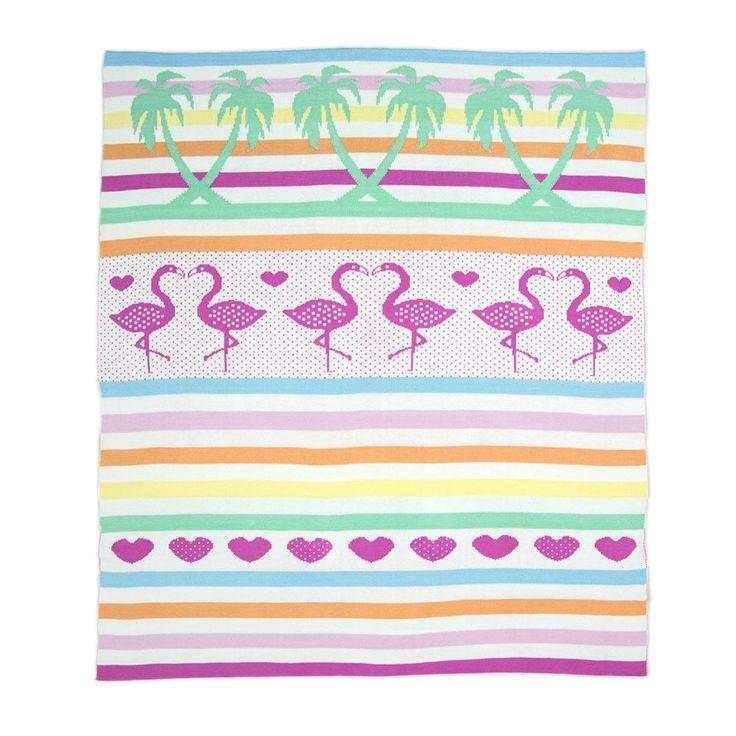 Weegoamigo Knitted Baby Blanket $79.95 - Flamingos