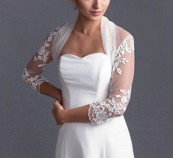 Soft delicate tulle bridal bolero Tulle bolero Long sleeve