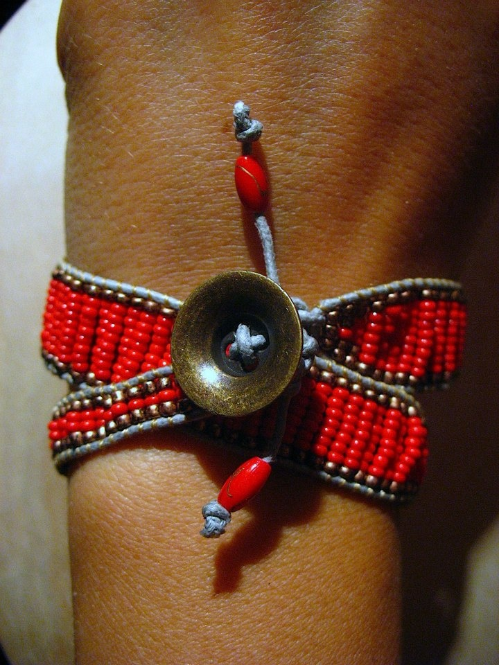 Red beads crochet bracelet,   It wraps around your wrist and can be used also as necklace.