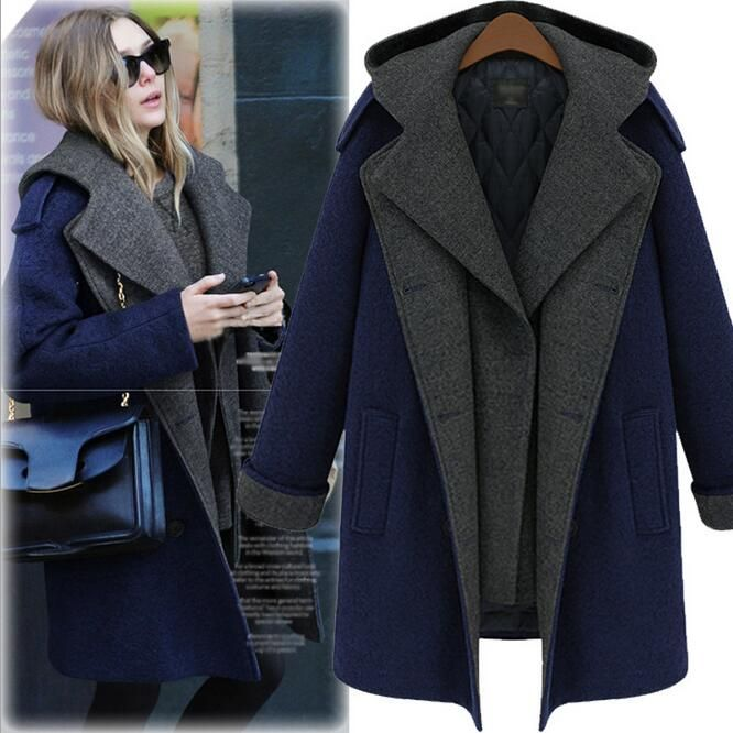 M-5XL Plus Size Women Long Hooded Cashmere Coat Navy Winter Wool Outerwear Overcoat Jacket Coat Famale Abrigos Mujer #Affiliate