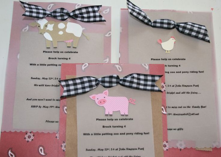 cute farm party invites. I think I could make these...
