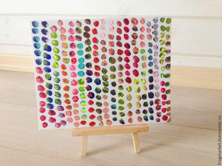 Купить Мозаика - разноцветный, радужный, мазок, шары, кружки, точки, абстракция, минимализм, акрил