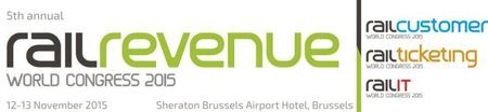 Rail Revenue World Congress 2015 on Thursday November 12, 2015 at 9:00 am - Friday November 13, 2015 at 6:00 pm at Sheraton Brussels Airport Hotel, Brussel Nationale Luchthaven 1930, Zaventem, Belgium, Category: Conferences, Price: EUR 345, Rail Revenue World Congress is a meeting place for senior commercial rail executives interested in improving commercial operations, boosting revenues, customer engagement and passenger experience. Booking: http://atnd.it/31038-1