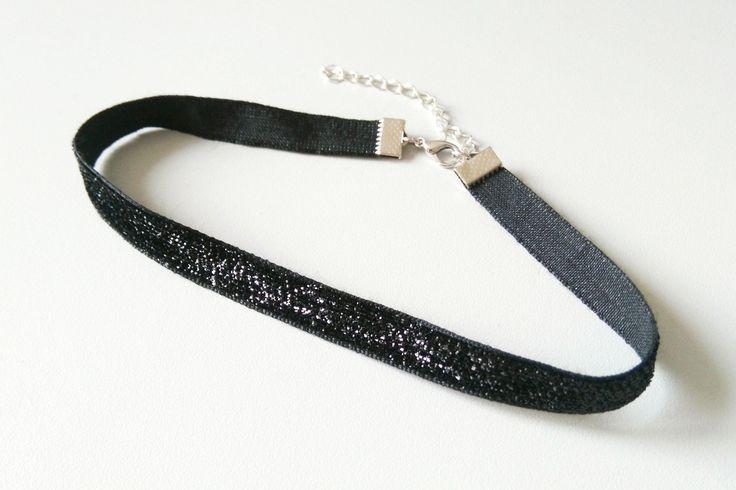 Glitzer Choker schwarz | Samt Halsband | Samtchoker | 90er Jahre | Choker Kette | Choker Halsband | 1 cm by Nesherim on Etsy