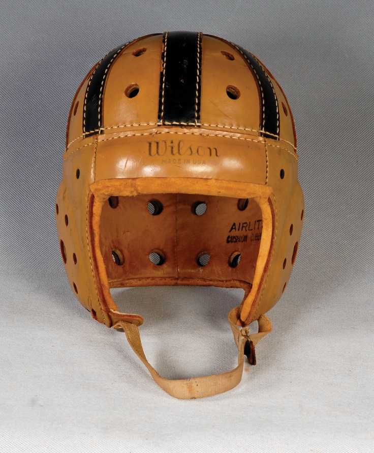 1920s vintage football helmet. You can tell it's vintage because there's no Nike Swoosh!