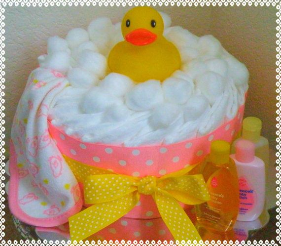 Rubber Duck Diaper Cake Pink by JustBabyCakes on Etsy, $26.99