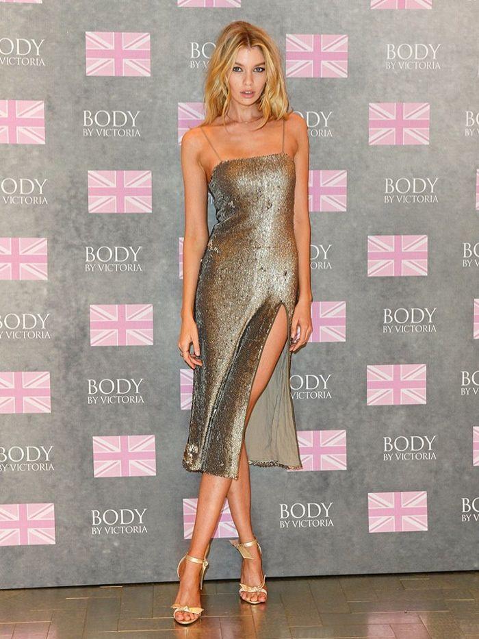 Stella Maxwell Shines in Silver at Victoria's Secret London Event