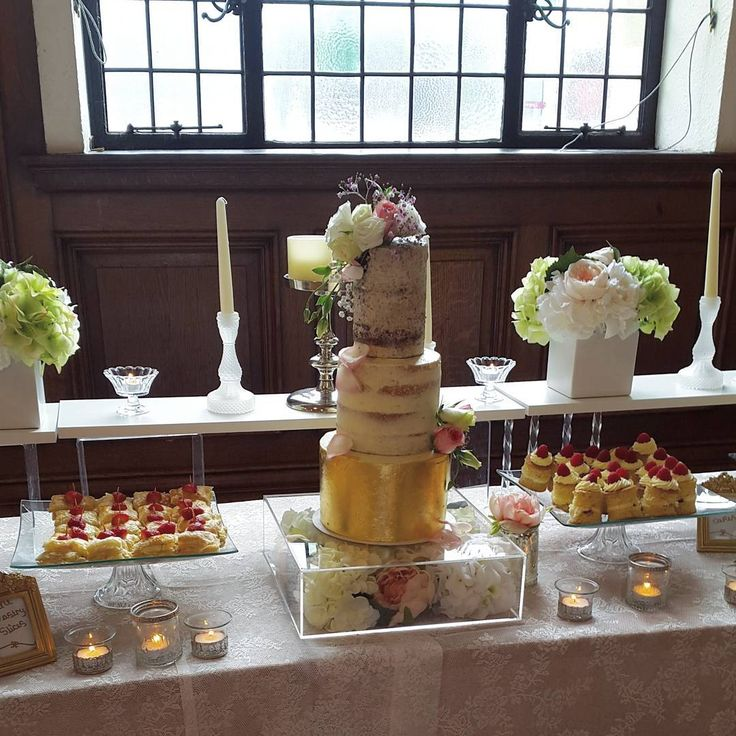 """114 Likes, 1 Comments - Saffron and Coco confections (@saffronandcoco) on Instagram: """"Wedding cake set up on the dessert table this morning at Stockport town hall. 2 semi naked cakes…"""""""