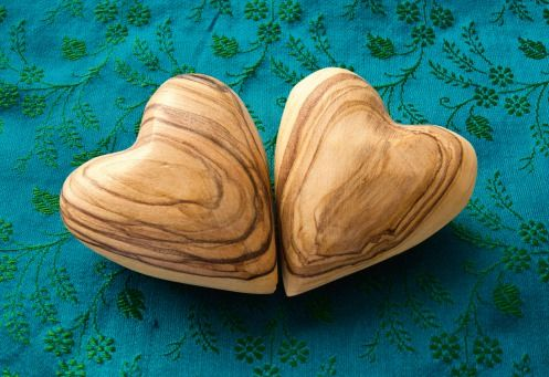 Wood Hearts | @FairMail - Fair Trade Cards - Valentine's Day Cards - FDP6022A | Love, Marriage, Mother's Day, Blue