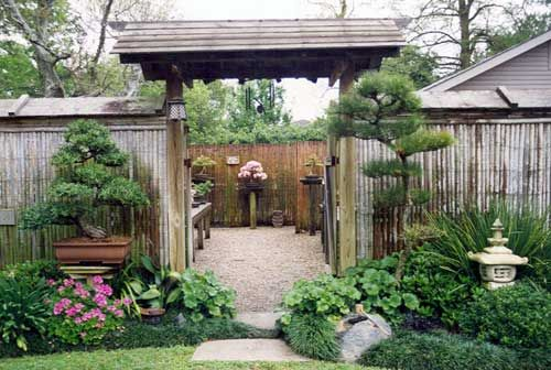 Backyard Bonsai Garden : gate and Bonsai garden I believe this is at Huntington Gardens