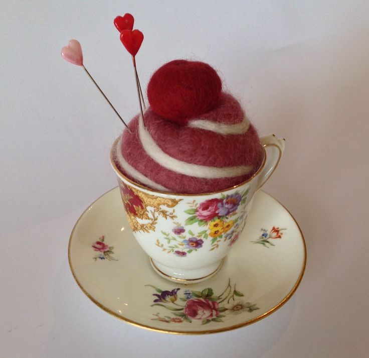 A personal favourite from my Etsy shop https://www.etsy.com/listing/229771059/vintage-teacup-cherry-cake-pincushion