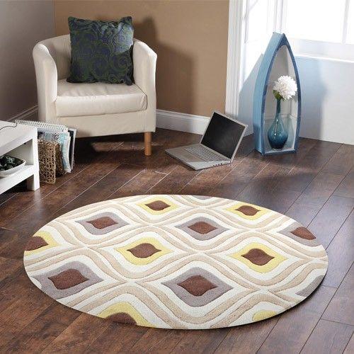 Coral Rose Modern Designer Rug - Brown and Gold - 200 x 200cm 6% OFF | $309.00 - Milan Direct