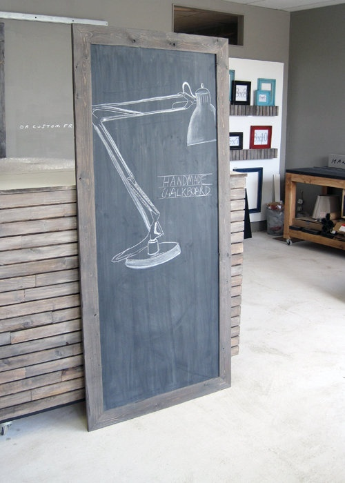 Large Industrial Style Wooden Chalkboard — Fixed price $140 - paint frame white or black & hang in kitchen