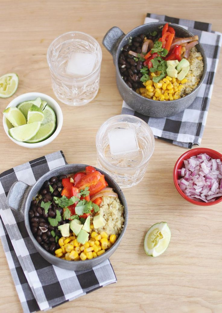 Quinoa burrito bowls: looks easy, and like something everyone in my family might eat!