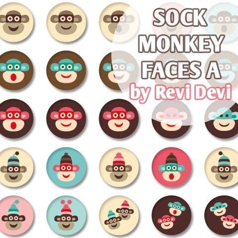 Sock Monkey Faces A 16224 Bottle cap images 1.313 by BlessedShop