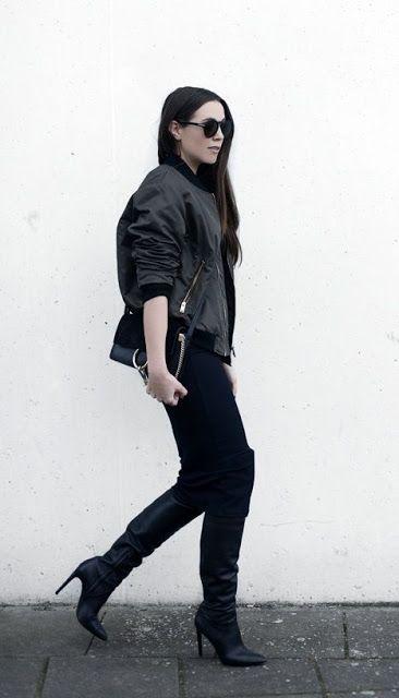Fall style | Black bomber jacket