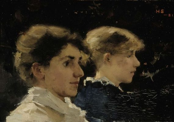 Helene Schjerfbeck - Two Profiles (Marianne Preindelsberger in front), 1881