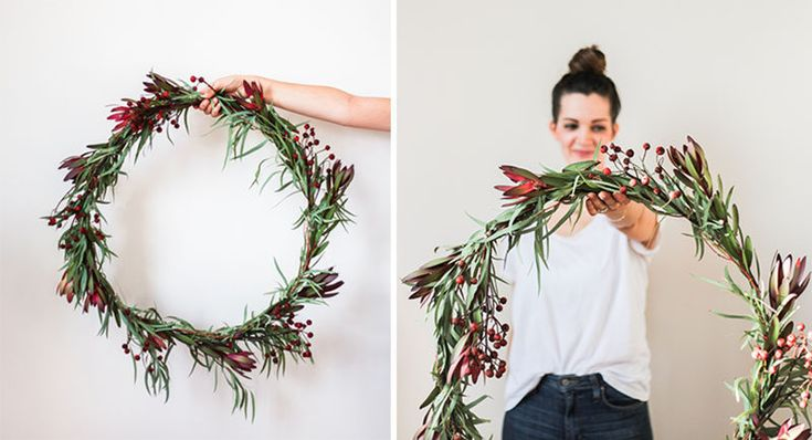 21 Modern Wreaths To Decorate Your Home With This Holiday Season // The eucalyptus trend is still going strong, get in on it this holiday season with a wreath made from eucalyptus leaves and a few well placed berries.