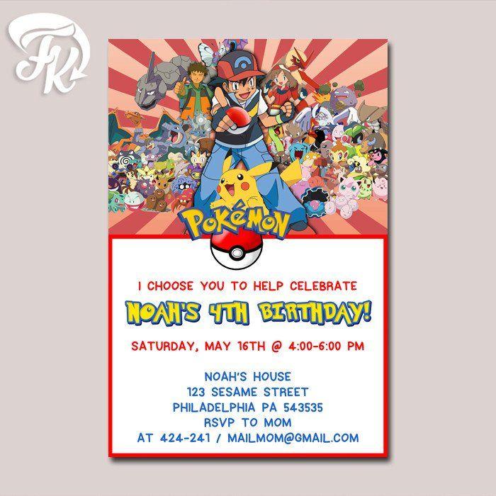 pokemon and friends rising sun birthday party card digital