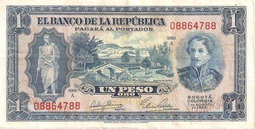 BILLETE DE 1 PESO AÑO 1953 BANCO DE LA REPÚBLICA DE COLOMBIA