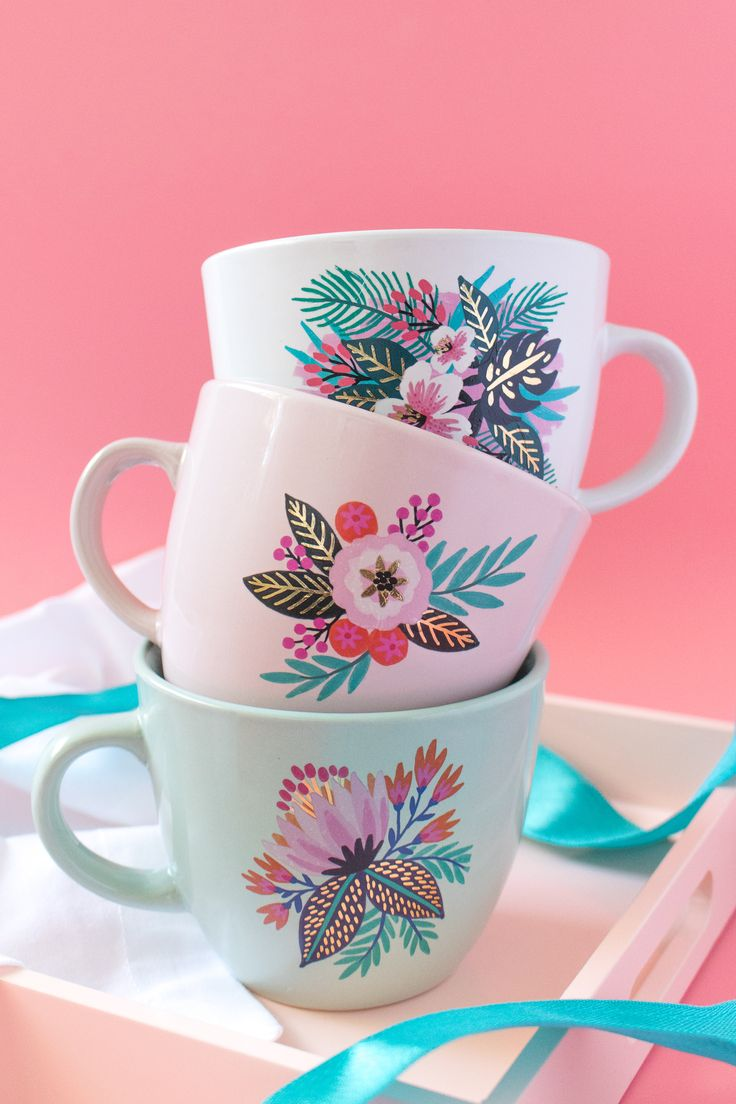 DIY Floral Temporary Tattoo Mugs