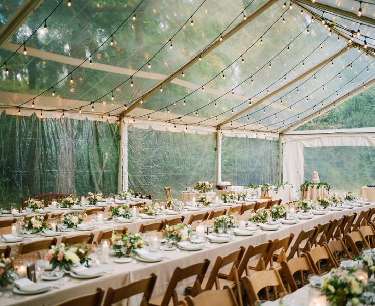 Clear canopy with lights for the reception