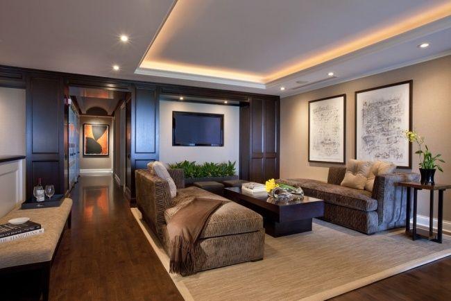 indirekte deckenbeleuchtung wohnzimmer einbauleuchten holzboden ...