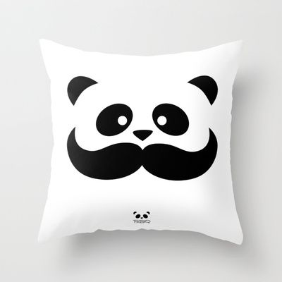 Moustache Panda Hug Throw Pillow by pmbq - $20.00