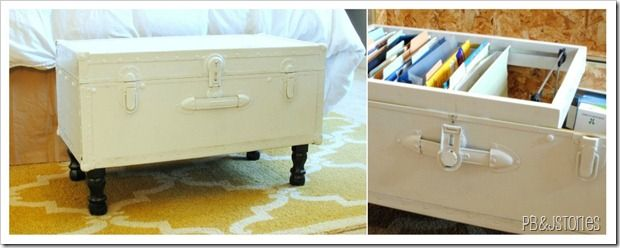 Many things make this beautiful- number one- the ugly trunk converted to adorable MADE into a filing cabinet...maybe transforming an old trunk into something adorable that I don't have to hide in a closet would induce me to file more often....wow I sound shallow. 2: LOVE the nod to wood palate headboard!
