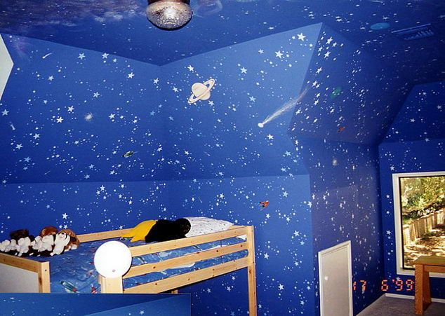 kids room outer space - i think i want this for the girls room upgrade, but maybe a different blue or purple.