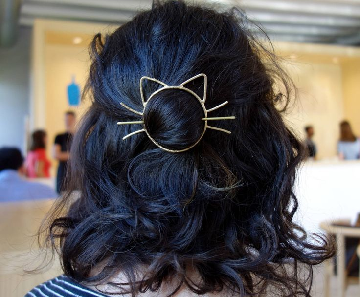 Cat Bun Pin Hair Clip Brass Barette Handmade Cat Whiskers Bun Slide by RachelPfefferDesigns on Etsy https://www.etsy.com/listing/475887143/cat-bun-pin-hair-clip-brass-barette