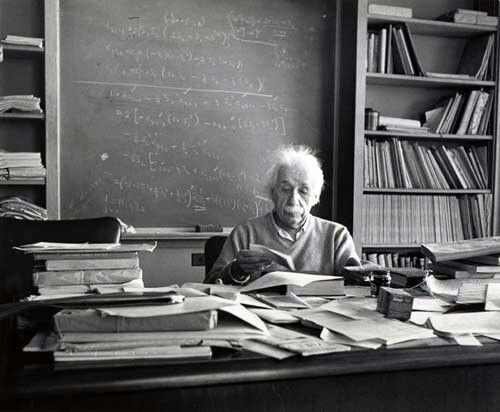 estherbubley.com  The Desk Of A Genius: Albert Einstein's theory of relativity labeled him a scientific genius one of the most influential physicists of our time.  This is a photograph of his New Jersey desk that was taken the day he died, April 15, 1955.