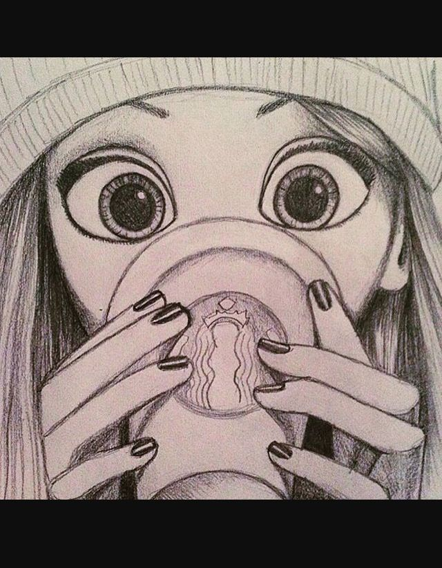 It is an image of Dynamic Girl Drinking Drawing