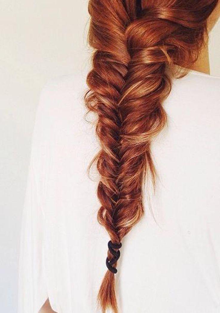Trança espinha de peixe nesse cabelo ruivo deuso