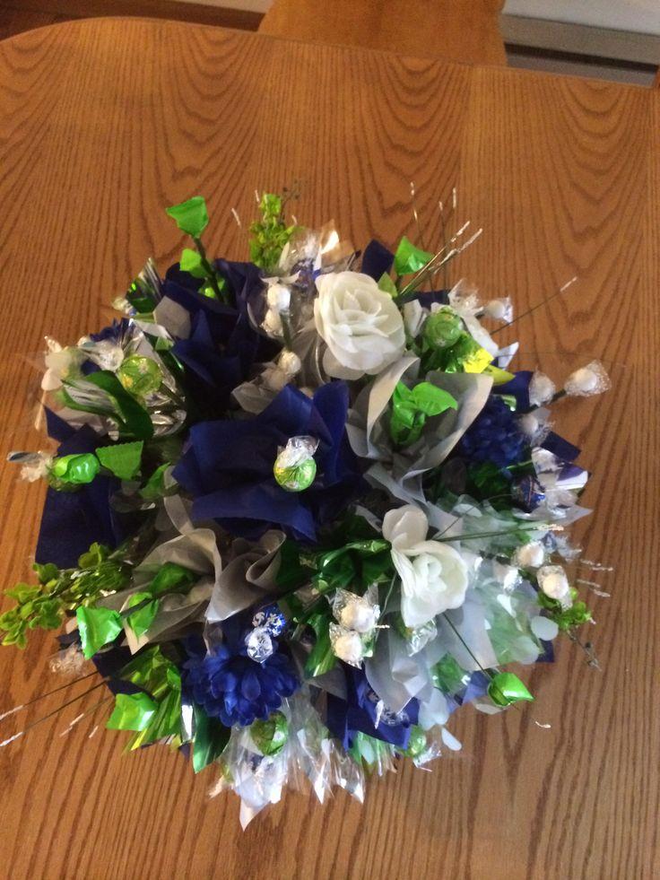 Wedding centerpiece candy bouquet blue green and