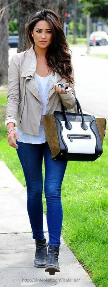 Cream Leather Jacket/White Blouse Combo