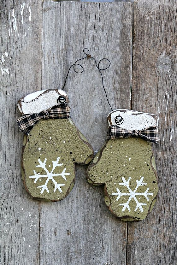 Primitive Wood Decor Rustic Winter Decor Sage by therustygoose, $16.95