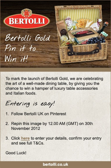 Bertolli pin it to win it! Click the image for full competition terms and conditions.