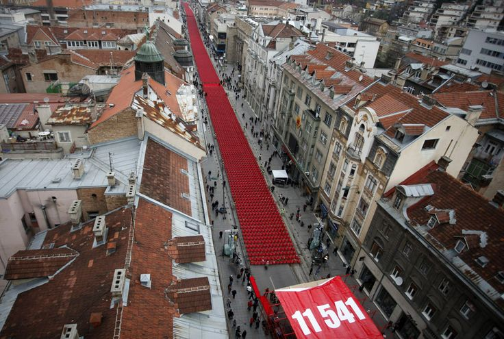 Bosnian War, 20 Years later, marked in Sarajevo with 11,541 red chairs, one for each dead.