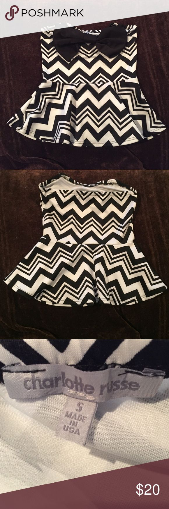 Charlotte Russe Strapless Chevron Top Charlotte Russe strapless black and white Chevron dress top with bow. Super cute to wear with a tight black skirt or pants! Dress up or dress down. Worn once, great condition. Charlotte Russe Tops
