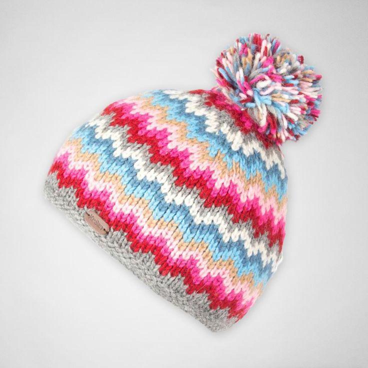KuSan PK1522 Zig Zag Bobble Hat Grey-Pink hats (Rmex6yKZ) - Accessories