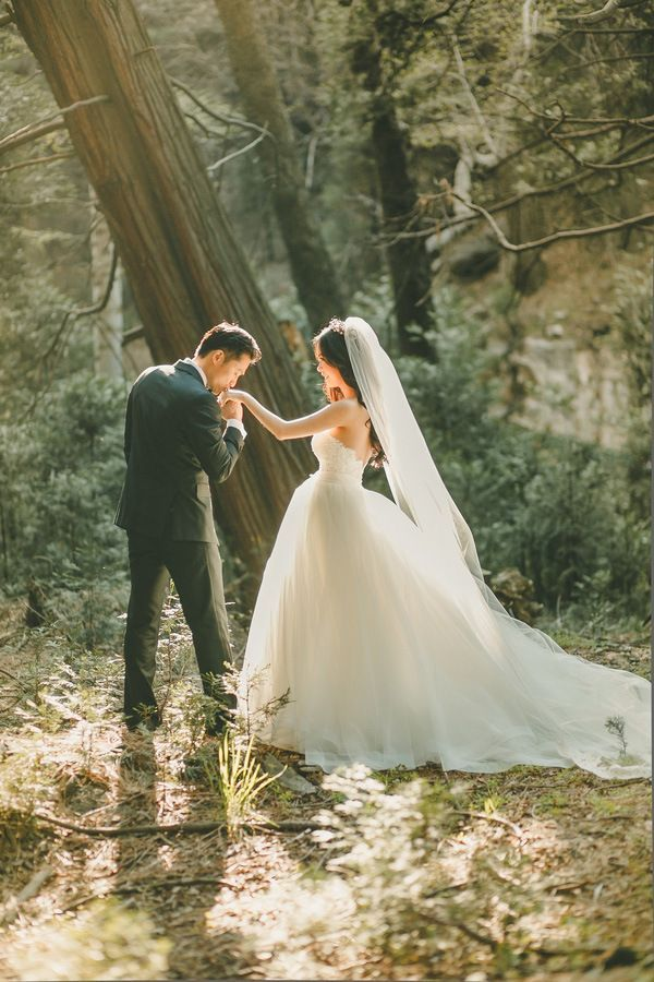 Magic Hour Wedding Portraits in the Woods | Kristen Booth Photography | Enchanting Mountain Bridal Portraits in a Fairy Tale Forest