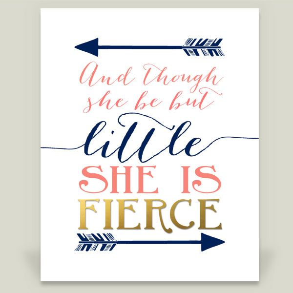 And though she be but little she is fierce - Shakespeare quote nursery navy coral gold Art Print by storybirdprints on BoomBoomPrints